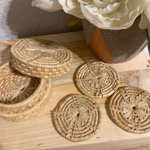 Woven Straw Coasters with Storage Basket Box